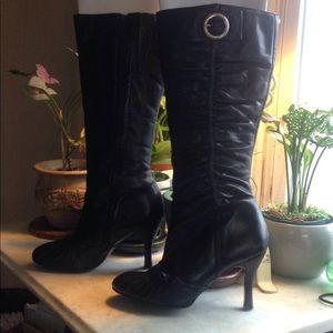 Aldo black leather, knee high, high heeled boots